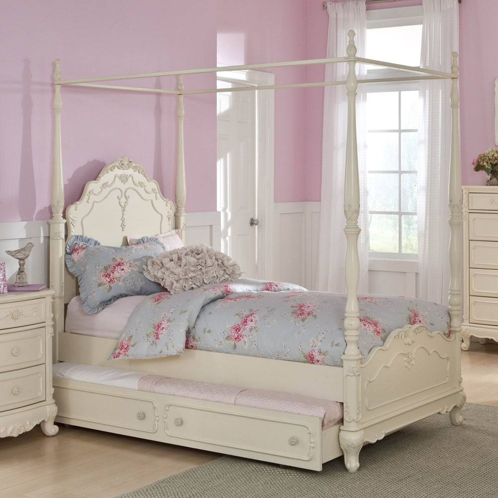 Homelegance Cinderella Twin Canopy Poster Bed in White