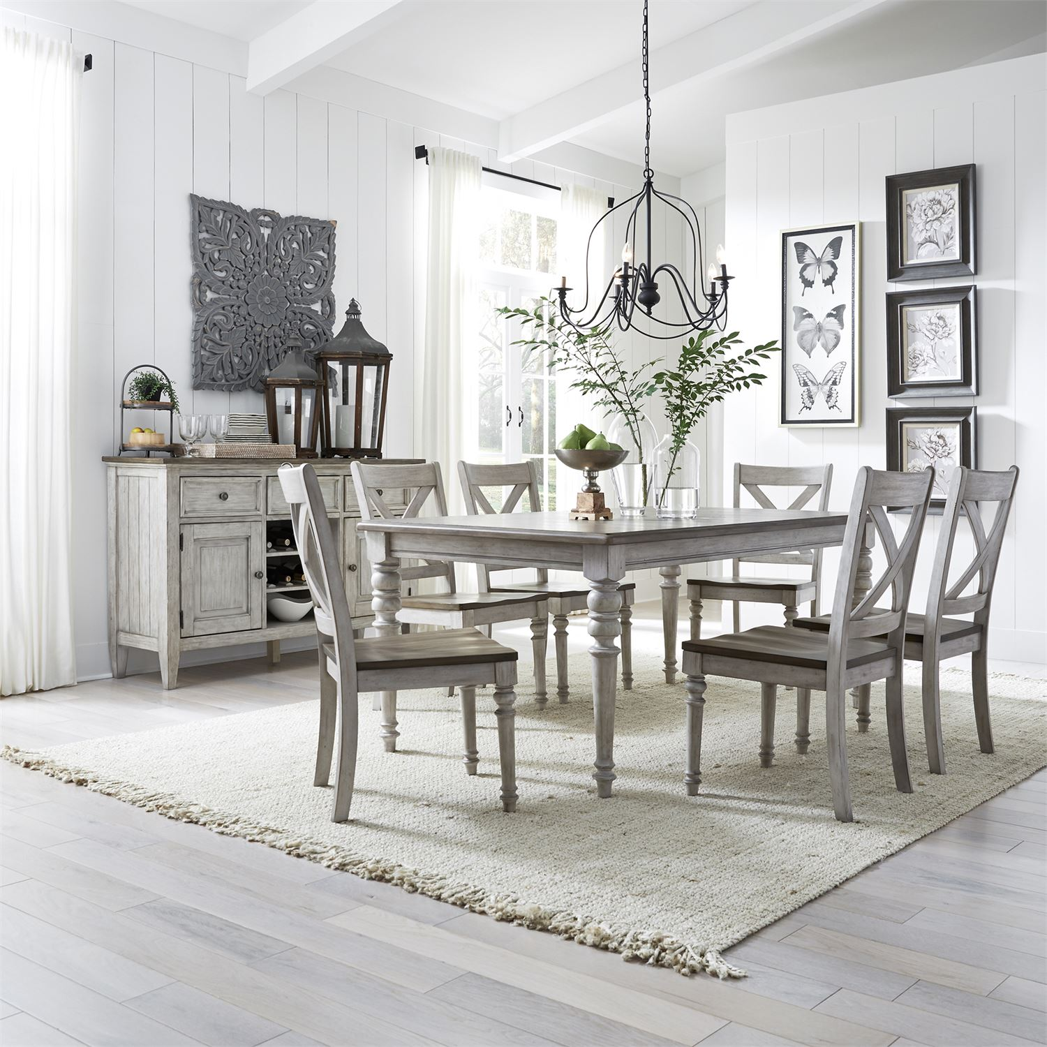 Liberty Furniture Cottage Lane Rectangular Dining Room Set in Antique White  with Weathered Gray