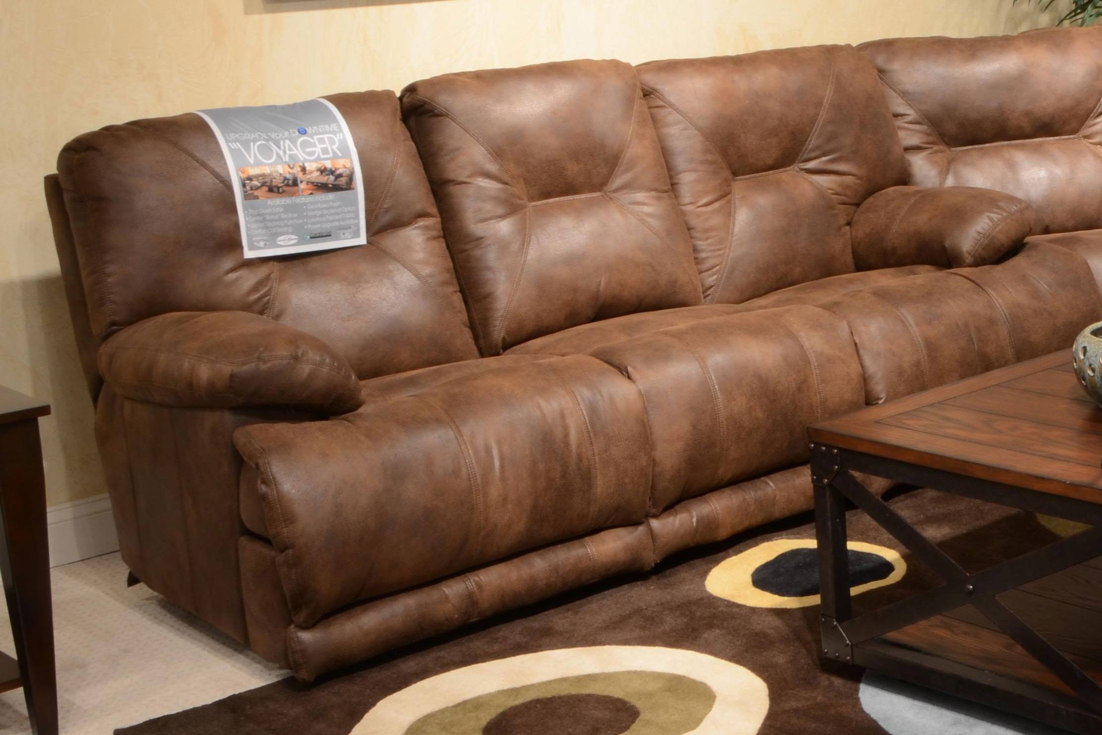 Catnapper Voyager Lay Flat Reclining Sofa with 3x Recliner & Table in Elk