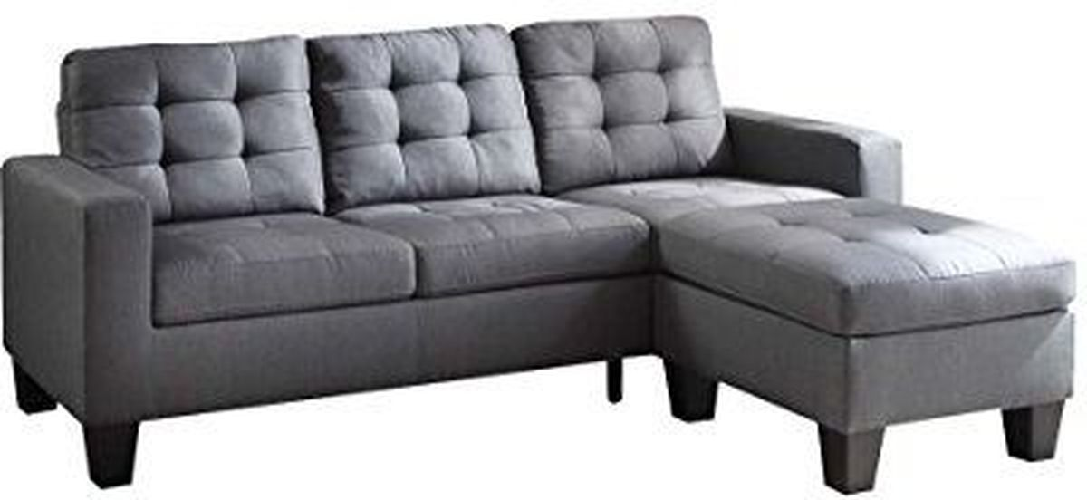 Sensational Acme Furniture Earsom Sectional Sofa With Ottoman In Gray Bralicious Painted Fabric Chair Ideas Braliciousco