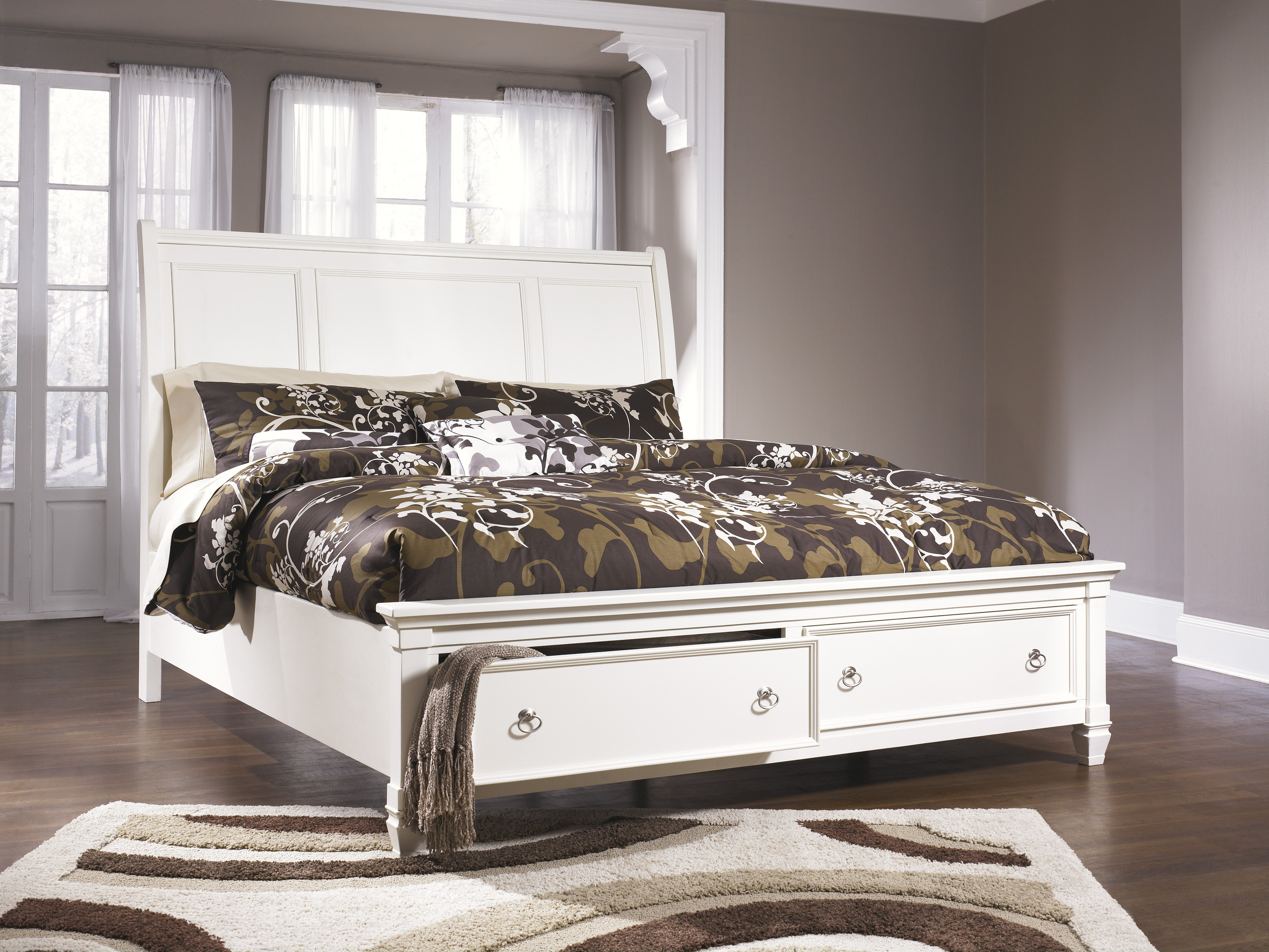 Ashley Furniture Prentice King Sleigh Storage Bed in White | Local ...
