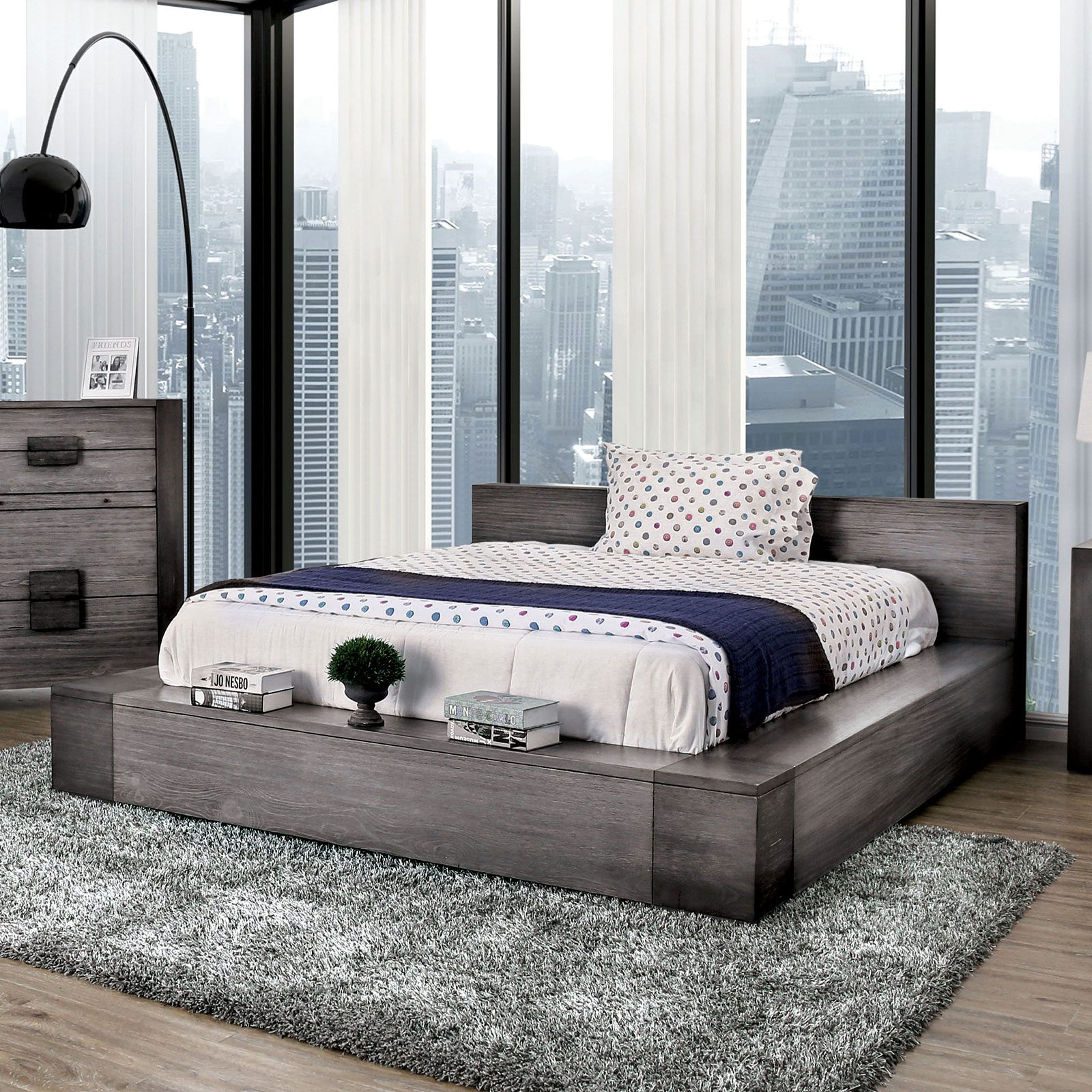 Picture of: Buy Furniture Of America Janeiro Queen Low Profile Bed In Grey Cm7628gy Q Bed