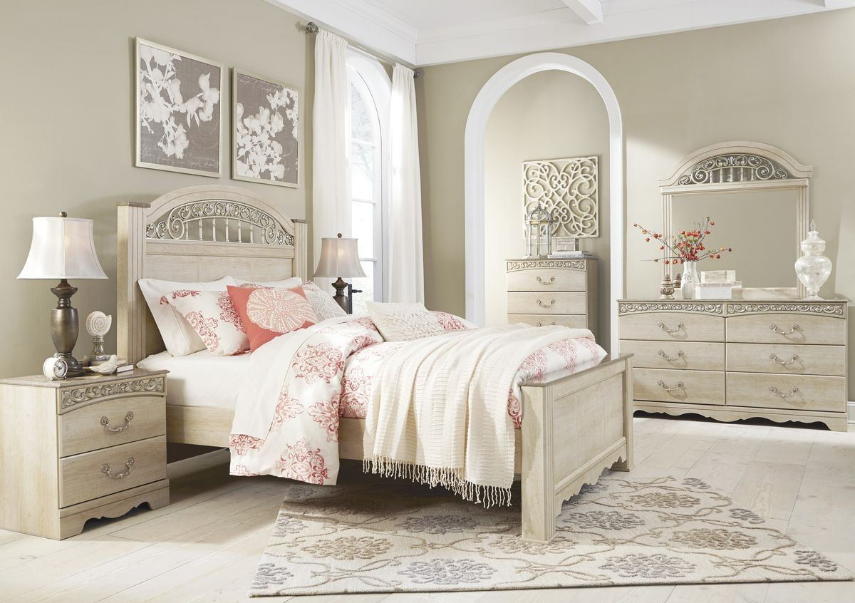 Sale Ashley Furniture Catalina Poster Bedroom Set In Antique White