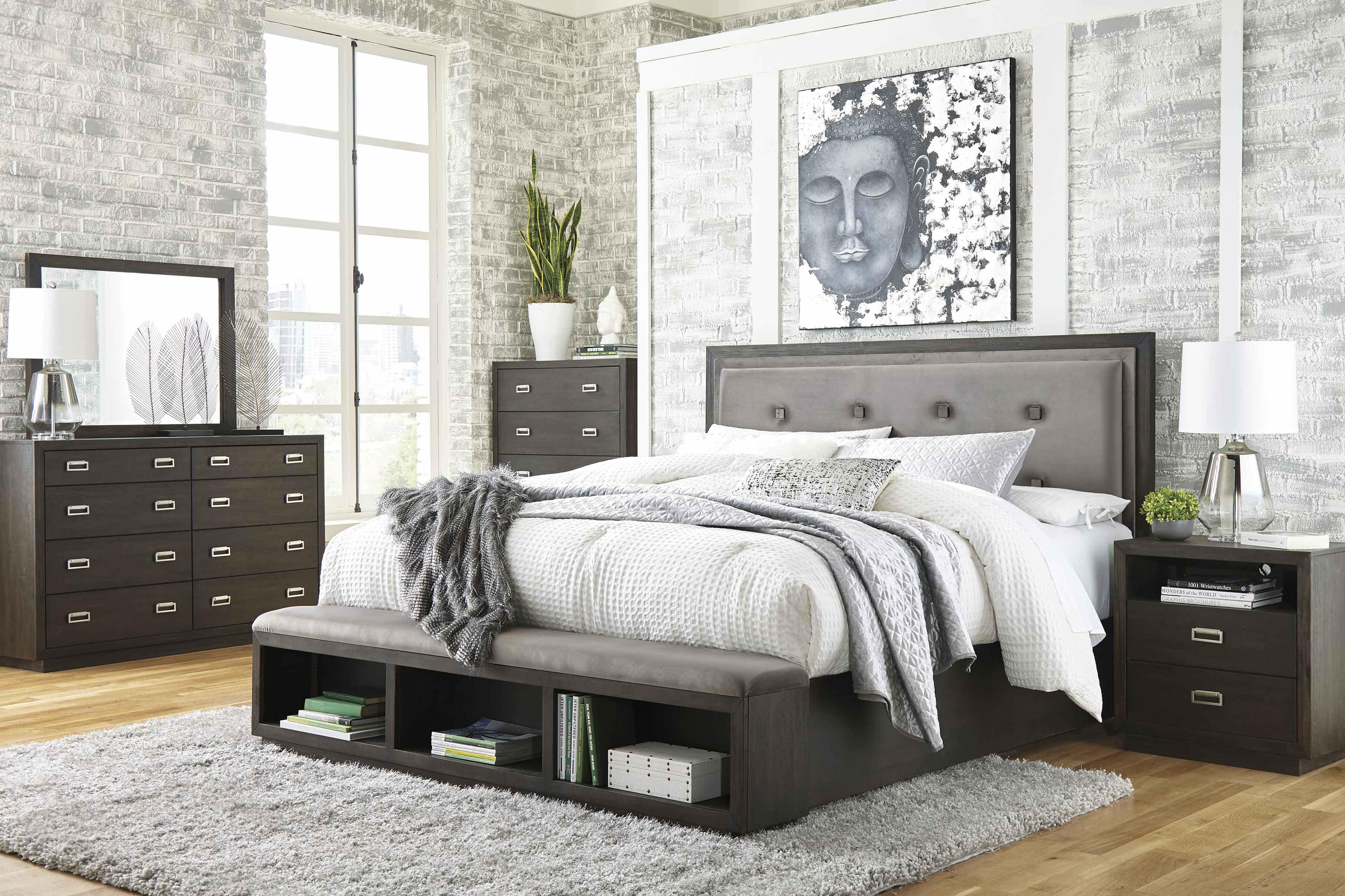 Shop Ashley Furniture Hyndell Upholstered Panel Bedroom Set In Dark Brown B731 Panel Set