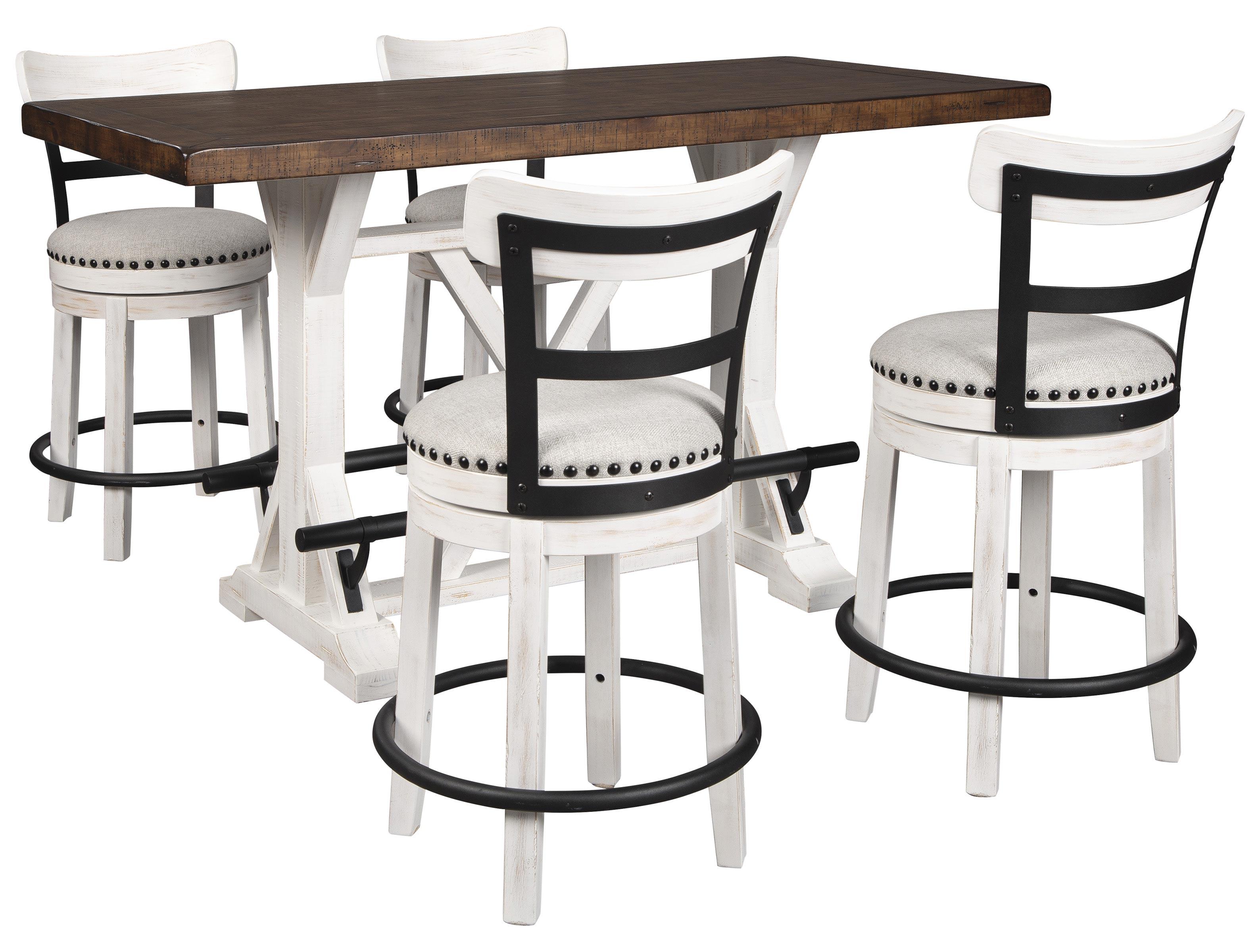 Buy Ashley Furniture Valebeck Rectangular Counter Dining Room Set In White Brown D546 530 Set