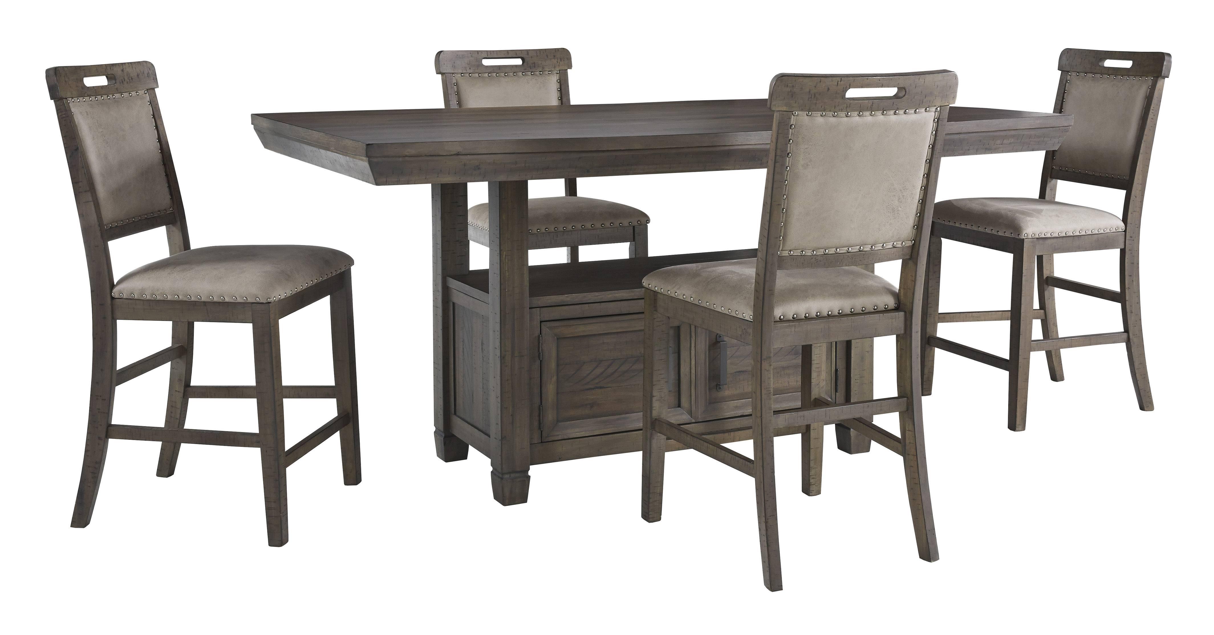 Ashley Furniture Johurst Rectangular Counter Dining Room Set in Grayish  Brown