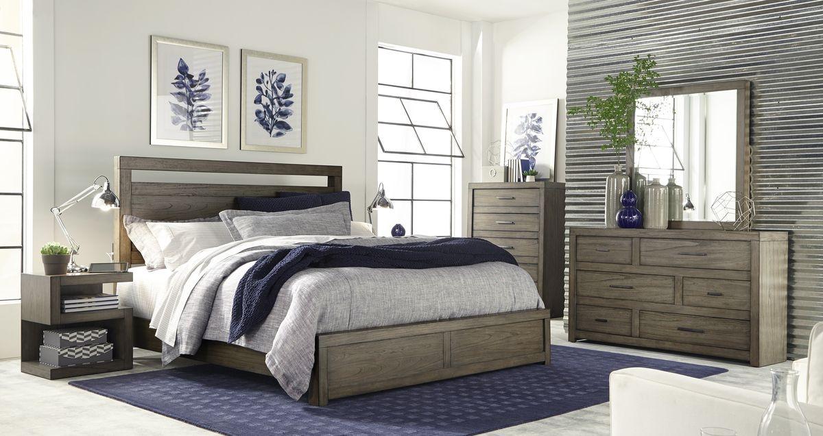 Aspen Home Modern Loft Panel Bedroom Set in Greystone
