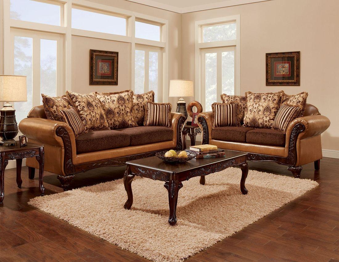 Furniture of America Isabela Living Room Set in Camel/Dark Brown